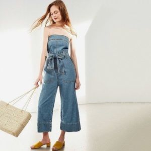 UO BDG Nika Strapless Denim Wide Leg Jumpsuit